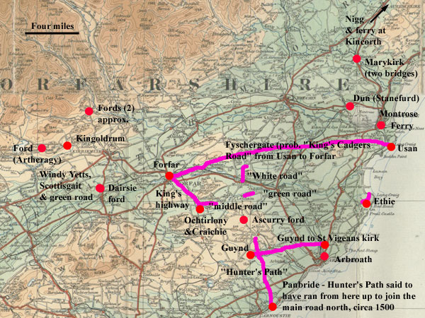 Roads mentioned in charters of Arbroath abbey - click for larger image