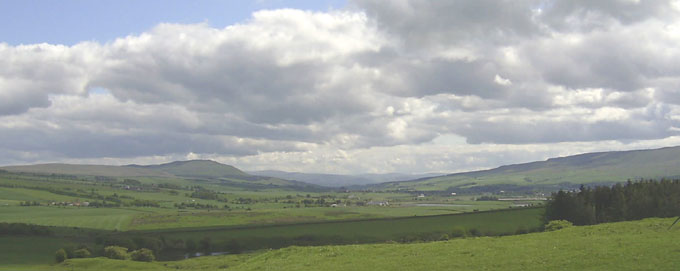 The Nith valley looking south - Corsincon  Hill is on left