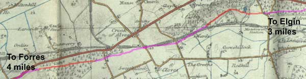 The old road between Elgin and Forres, part of which was worked on by the military